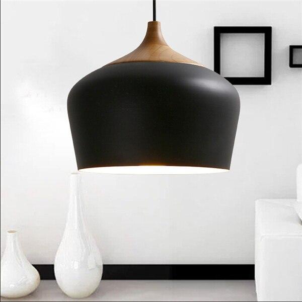 Modern Aluminum Oak Wood Pendant Light Lustres Black Pendant L& Kitchen Light Restaurant Hanging L& Light Fixture avize-in Pendant Lights from Lights ... & Modern Aluminum Oak Wood Pendant Light Lustres Black Pendant Lamp ...