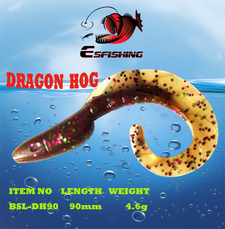 10pcs Carp Fishing Lure Soft Bait 9cm/4.6g Dragon Hog3.5