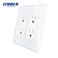 Livolo US Standard Two Gang US Socket 15A Vertical Luxury White Crystal Glass VL C5C4US 11