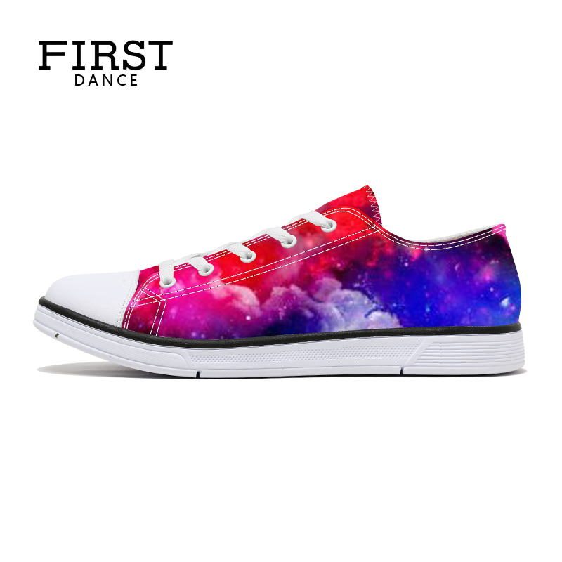 First Dance Women's Vulcanize Shoes Classic Fashion Nice Sky Printed Woman Shoes 2018 Spring Flats Casual Canvas Shoes For Women vintage embroidery women flats chinese floral canvas embroidered shoes national old beijing cloth single dance soft flats