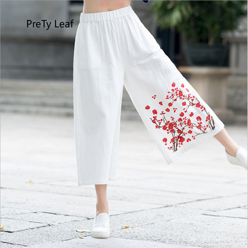2018 summer new national style loose   wide     leg     pants