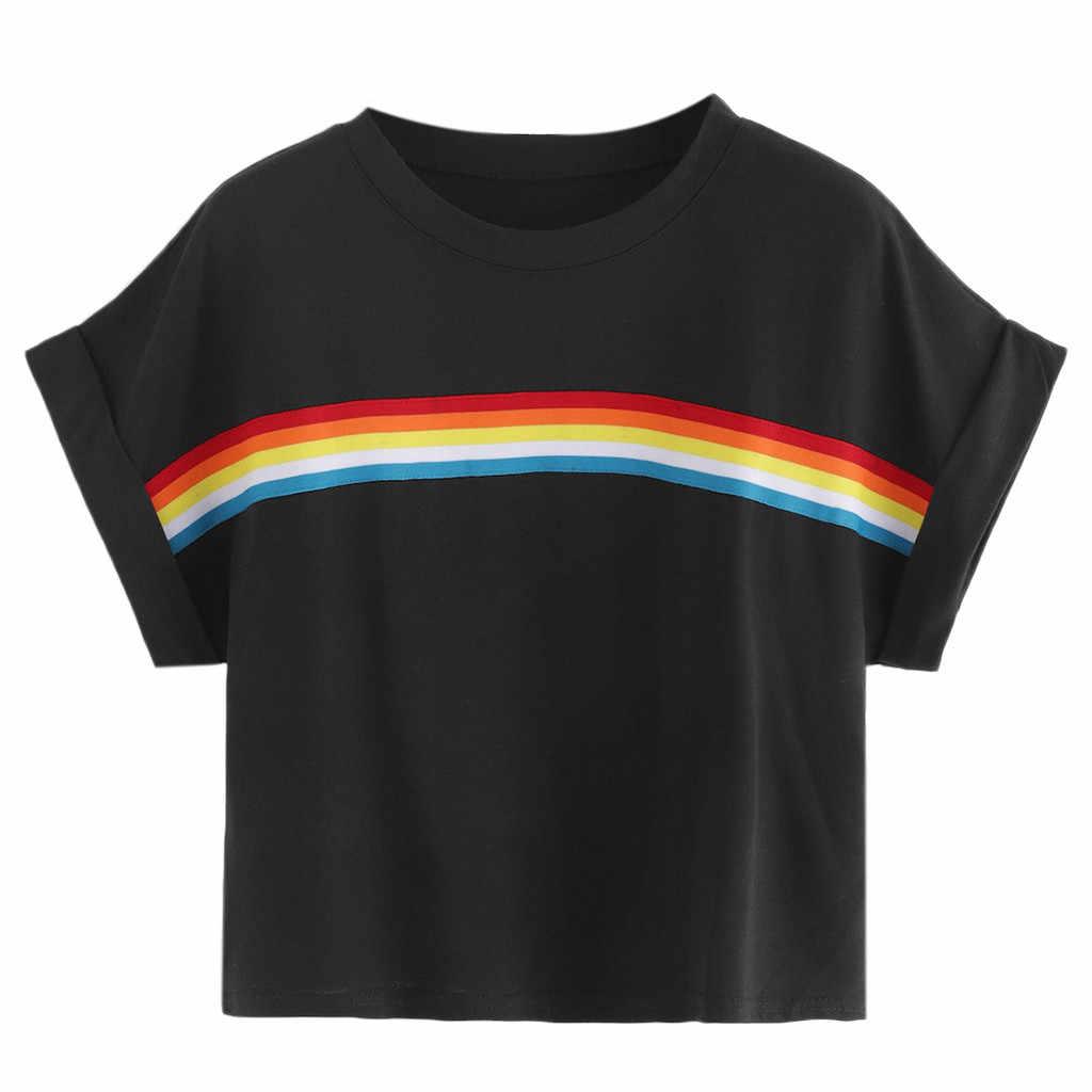 Delle donne A Strisce di Nastro Pannello Crop T-Shirt Moda Manica Corta T-Shirt casual Semplice Cotone Top Ropa Femenina # Q