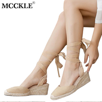 MCCKLE Women Spring Flock Ankle Strap Straw Platform Wedge Sandals Female Lace Up Canvas Espadrilles Shoes Zapatillas Mujer