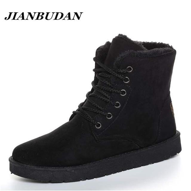 JIANBUDAN AMatte бархат досуг мужчины теплый хлопок обувь 2017 новый non-slip зима снег сапоги мужские зимние ботинки