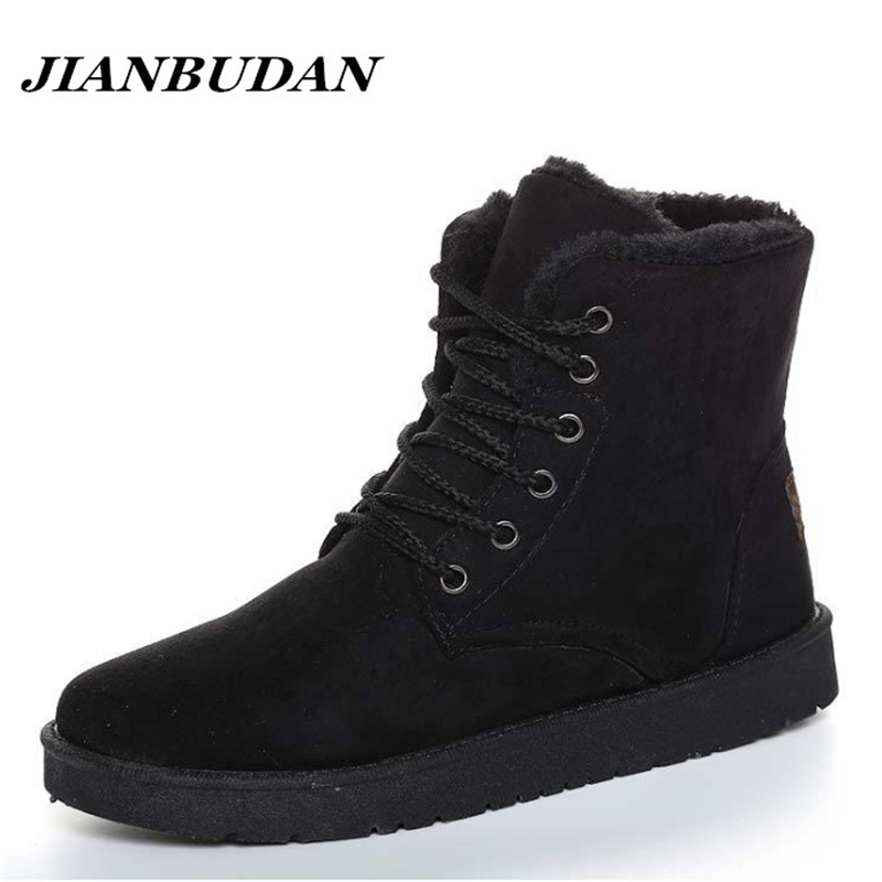 JIANBUDAN  Artificial velvet leisure men warm cotton shoes 2018 new non-slip winter snow boots men