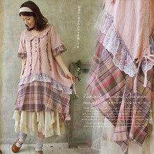 Японское милое платье «Мори» для девушек, женские хлопковые кружевные платья средней длины с воротником в стиле Питера Пэна и короткими рукавами в стиле пэчворк A088