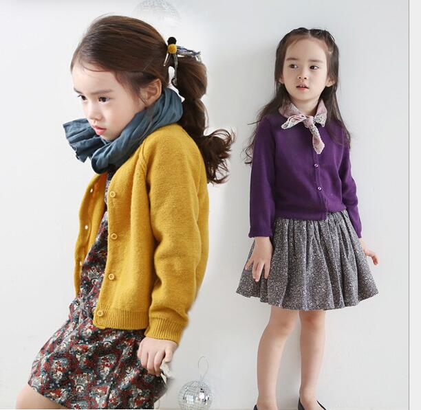 A thick coat color all match Long Sleeve Knitted Girl Clothes Cardigan 0 Neck Single breasted