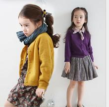 A thick coat color all-match Long Sleeve Knitted Girl Clothes Cardigan 0-Neck Single breasted Solid Casual Children Clothes S055