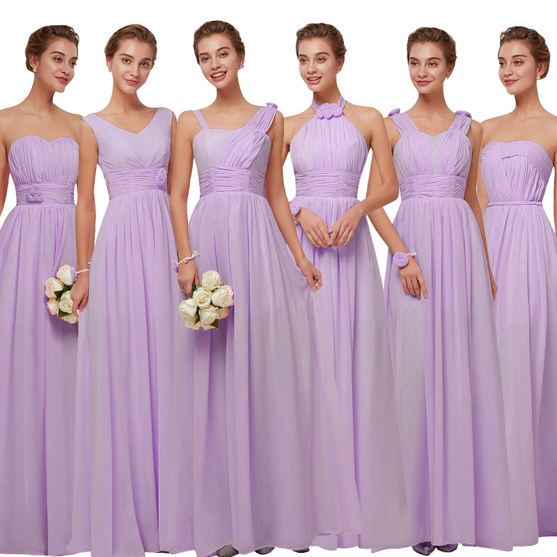 Beauty-Emily Long Chiffon Blush Purple Bridesmaid Dresses 2018 A-Line Vestido De Festa De Casamen Formal Party Prom Dresses