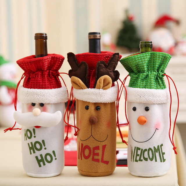 Sequins Ho Noel Welcome Santa Claus Red Wine Bottle Cover Bags