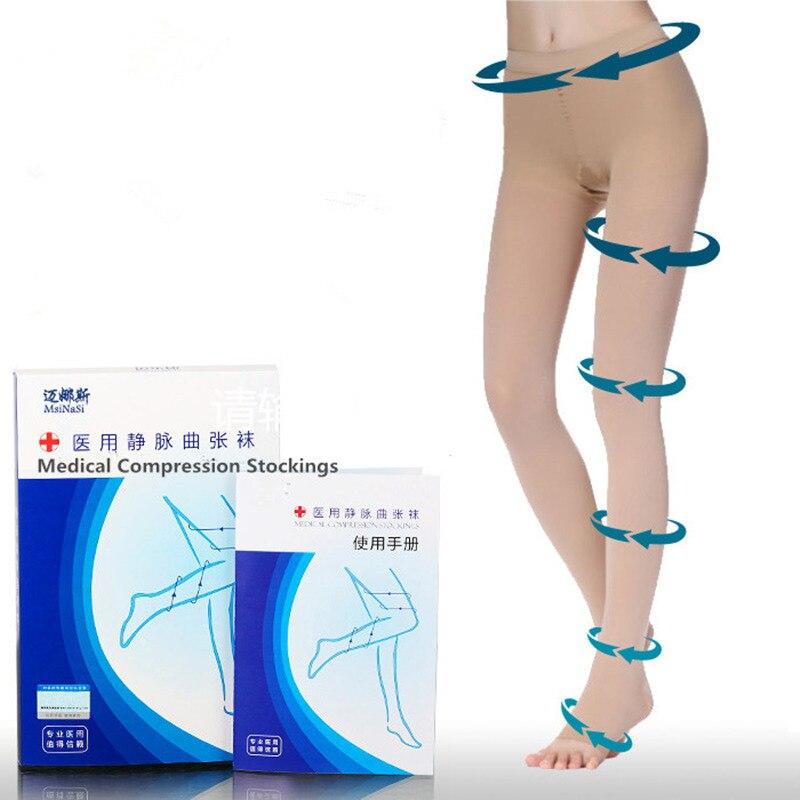 20-30mmHg medisinsk strømpe trykk Svart Kaki Nylon Strømpebukse Kompresjonsstrømper Stovepipe strømper
