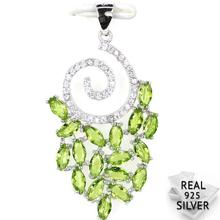 Guaranteed Real 925 Solid Sterling Silver 2.6g Deluxe Top Green Peridot CZ Engagement Pendant 38x20mm