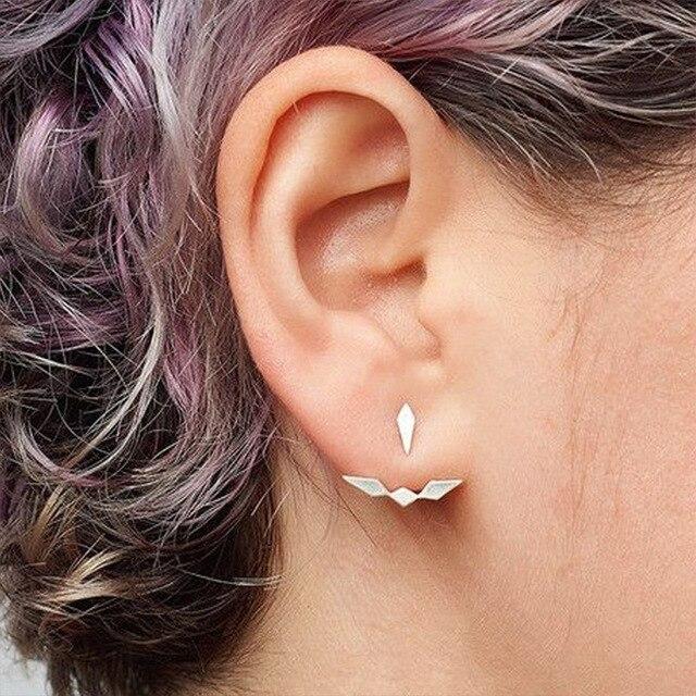 Trendy Gold Silver Ear Jacket Stud Earrings for Women Geometric Stud  Earrings Punk Statement Jewelry Brincos 4f9e7091f