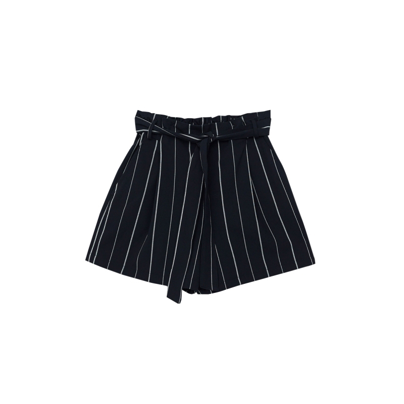 HDY Short Femme 2019 Women High Waisted Wide Leg Short Stripe Elastic Waist Shorts Feminino Plus Size haoduoyi Shorts Women M (2)