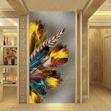 SELFLESSLY Big Size Wall Pictures Golden Feather Print Posters Abstract Canvas Paintings For Living Room Unframed(China)