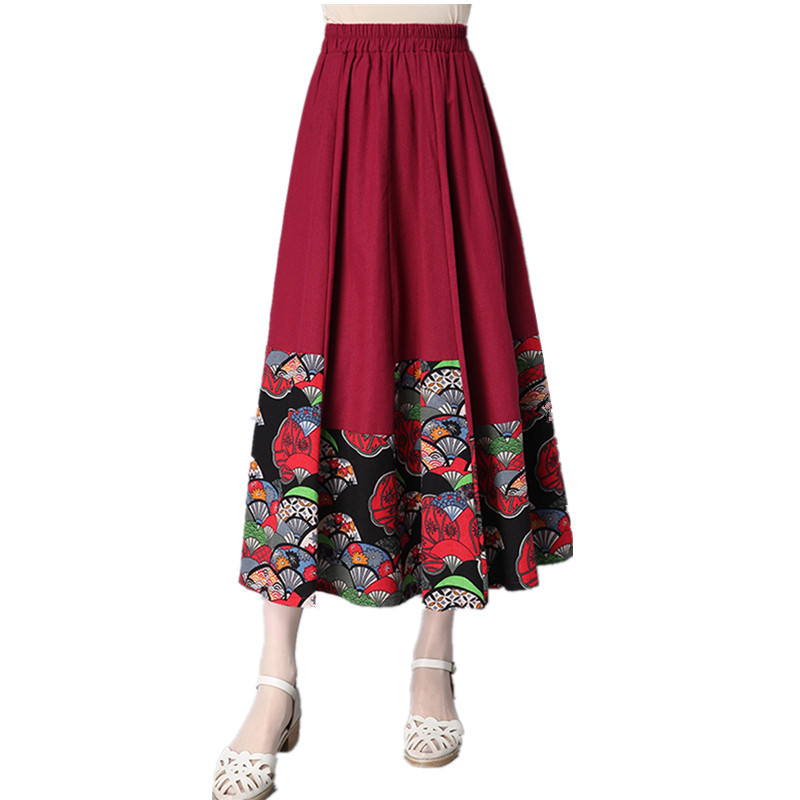 Brand New Summer Fashion Women linen Print Mid-Calf Skirts Denim Style Casual Clothing Ves