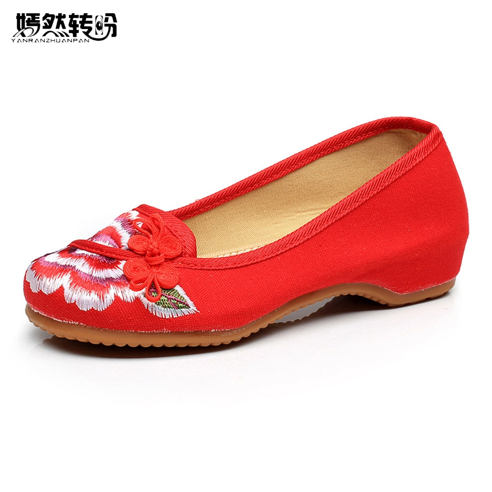 Women Flat Shoes Ballerinas Dance Embroidery Shoes Old Beijing Black Red Cloth Shoes Platform Canvas Walking Casual Flats canvas shoes women black red jazz shoes ballet dance shoes split heels sole sl02138b2