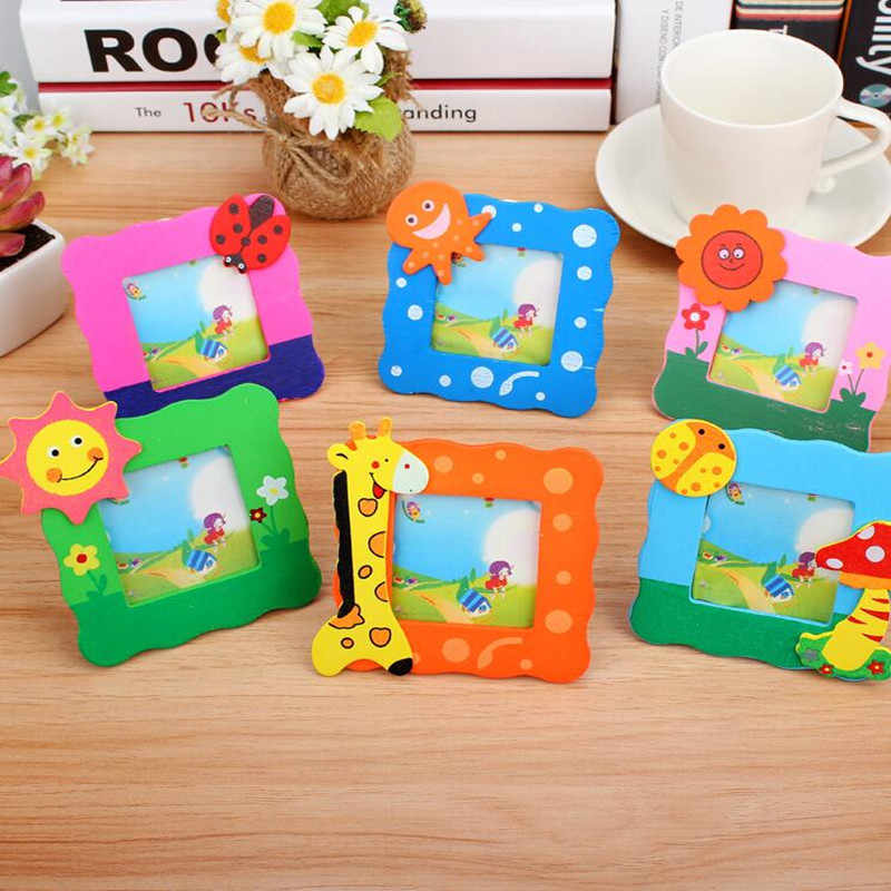 Mini Photo Frame Square Cute Cartoon Wooden Kids Birthday Party Favor Gift Home Decoration