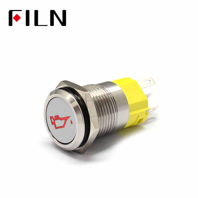 16mm 12v LED argent shell métal bouton poussoir interrupteur tableau de bord symbole personnalisé verrouillage momentané sur interrupteur de course de voiture