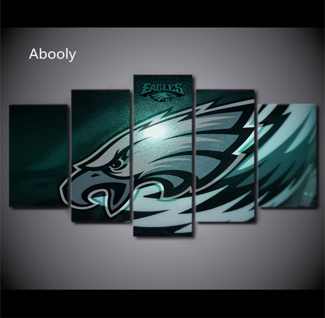 5piece Canvas Prints Living Room Picture Wall Decor Philadelphia Eagles Rugby Logo Print Poster Pictures