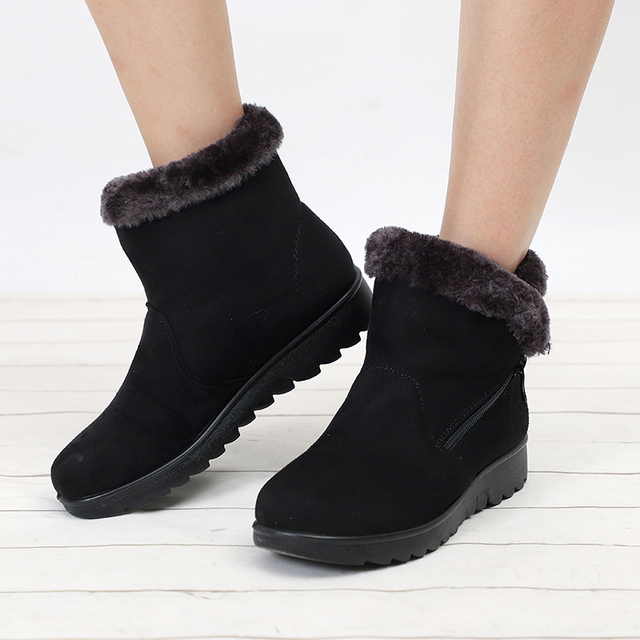 Weibliche Mode Zip Winter Schnee Stiefel Damen Warme Pelz Wildleder Wedge Ankle Boot Frauen