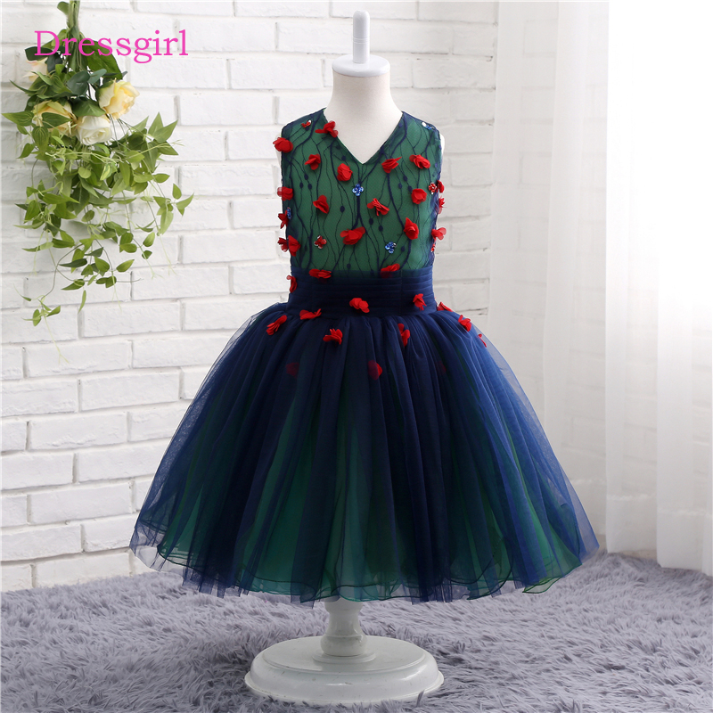 Navy blue 2018 flower girl dresses for weddings a line v neck cap navy blue 2018 flower girl dresses for weddings a line v neck cap sleeves tulle first communion dresses for little girls mightylinksfo