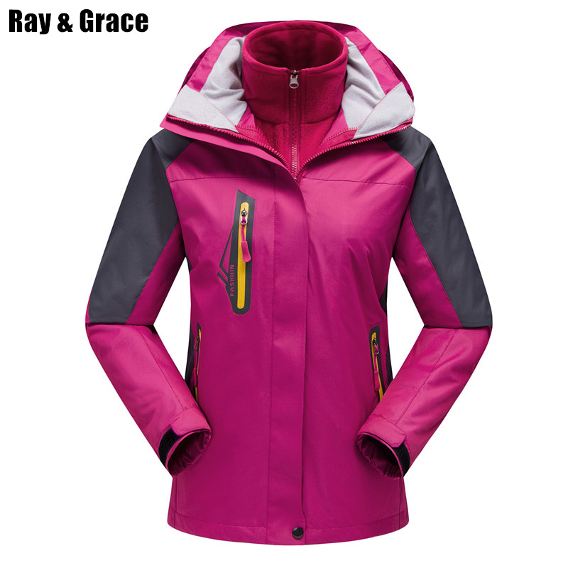 RAY GRACE Winter Outdoor Jacket Women Men Waterproof Jacket Fleece Liner Warm Suit Hiking Jacket Mountain Climbing Chaquetas men women winter waterproof mountain clothes climbing hiking overcoats thicken fleece lined warm outwear jacket coat for lovers