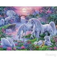 Jungle UnicornDIY Diamond Painting Landscape star Cross Stitch Mosaic diamond painting Full square Rhinestone Home decor gift