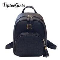 Tiptoegirls Mulheres Mochilas Moda Pés de Pedra Padrão de Couro PU Bolsa de Ombro Pequena Mochila Em Relevo Sacos de Escola para a Menina
