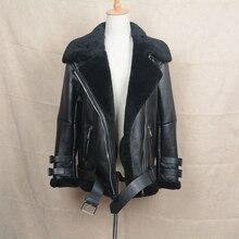 2017 Motorcycle Leather Punk Jacket Biker Jacket Women Men Genuine Leather Coat With Real Fur S1640