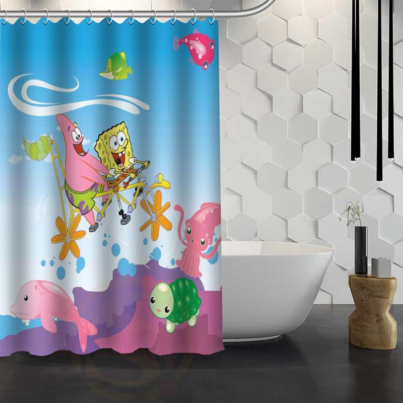 Custom Sponge Bob Shower Curtain Waterproof Fabric Shower Curtain for Bathroom WJY1.17