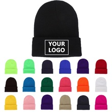 DIY Personality Design Custom LOGO Autumn Winter Solid Color Knit Hats Skullies