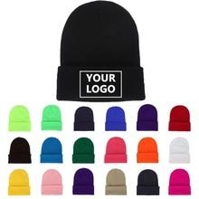 Desenho de personalidade diy, logotipo personalizado, outono inverno, cor sólida, chapéus de malha, bonés para homens, mulheres, marca de equipe, personalizar, tampas