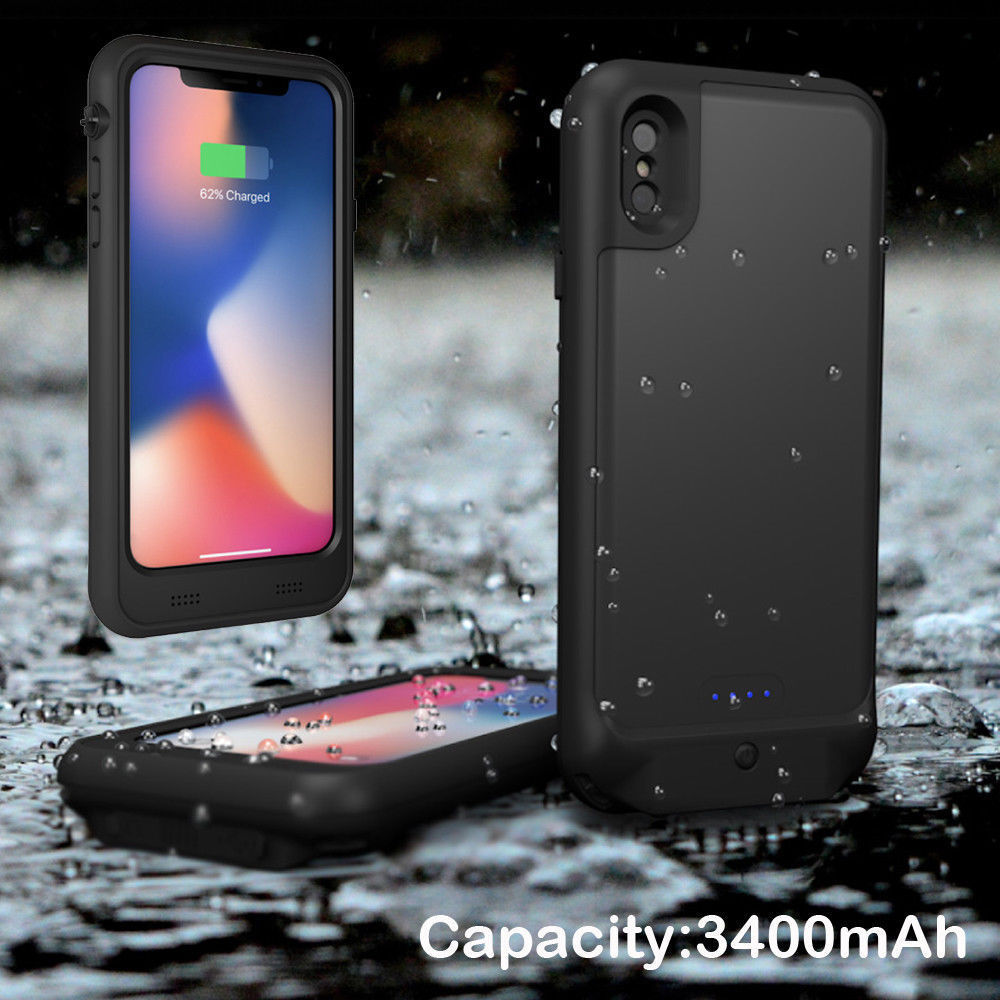 External Power Bank Waterproof Battery Charger Case Adapter For iPhone X Support charging / 3.5mm audio port 2in1External Power Bank Waterproof Battery Charger Case Adapter For iPhone X Support charging / 3.5mm audio port 2in1