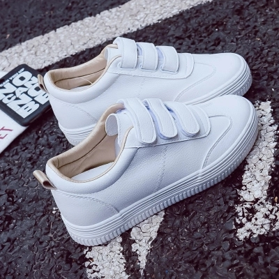 2019 New Fashion Shoes Woman Solid Color Casual High Platform Increased Within Solid PU Leather Women Casual White Sneakers
