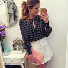 Women Casual Long Sleeve Blouses Summer Chiffon Polka Dots Shirt Tops