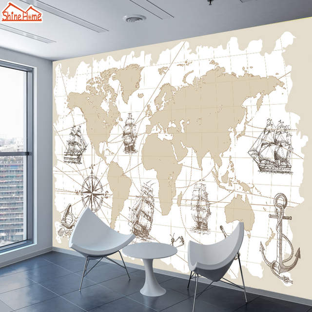 Us 108 55 Offshinehome Large Custom Photo Wallpapers For 3 D Living Room Wallpaper Nautical Chart World Map Background Wall Paper Covering In