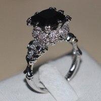 Victoria Wieck Punk Skull Jewelry 5ct Simulated Diamond Black Cz Wedding Band Ring For Women White