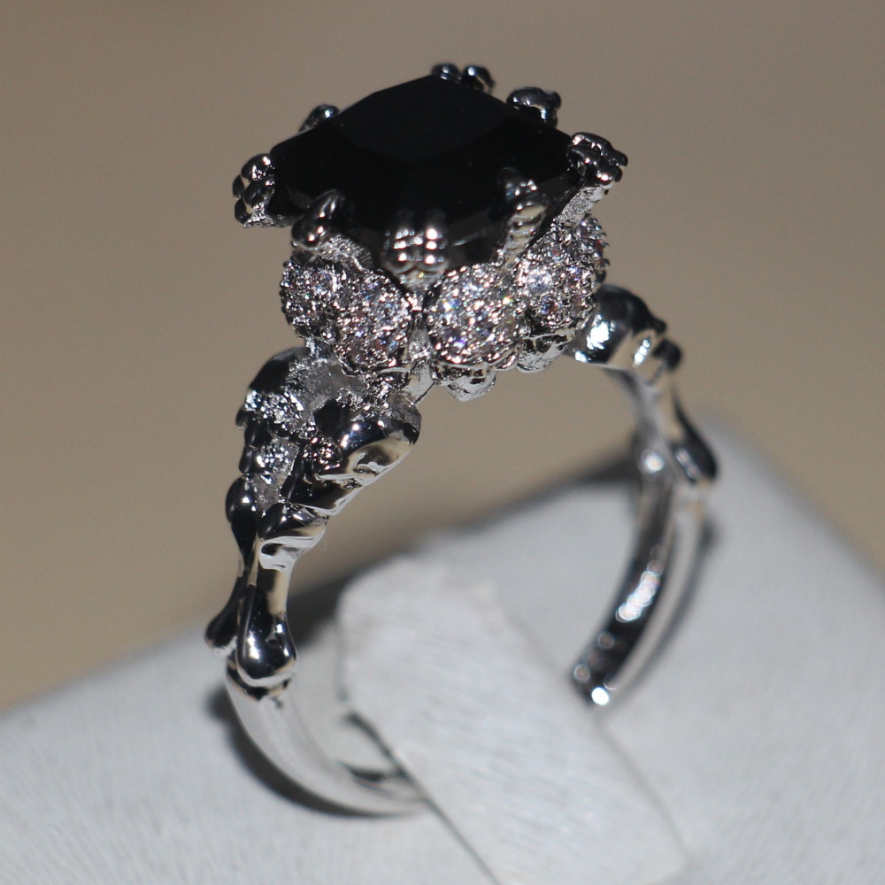 Victoria Wieck Punk Skull Jewelry 5ct 5a Zircon Stone Black Cz Wedding Band Ring For Women: Cz Wedding Band Ring At Reisefeber.org