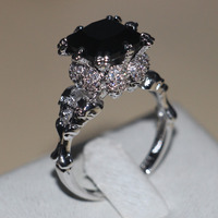 Victoria Wieck Punk Skull Jewelry 5ct 5A Zircon stone Black Cz wedding band ring for women White gold filled Dropshipping Ring