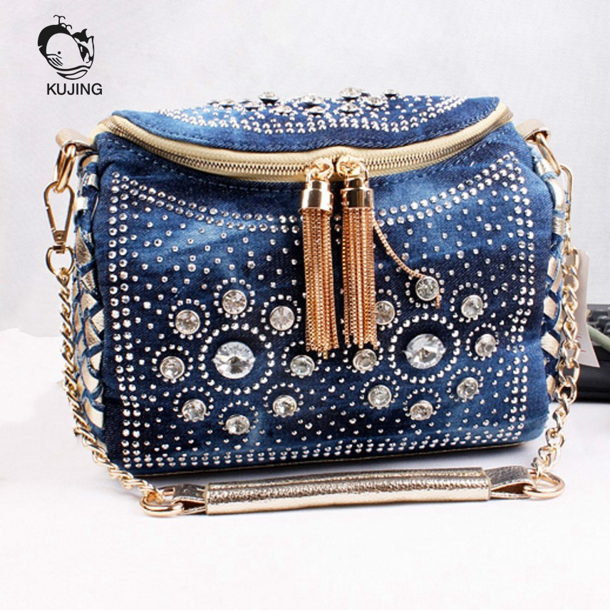 KUJIN Fashion Handbag High Quality Denim Woman Bag Hot Braided Woman Handbag Woman Shoulder Messenger Bag Cheap Women Casual Bag