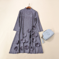 FREE SHIPPING Miyake fashion fold three quarter solid stand neck dress IN STOCK