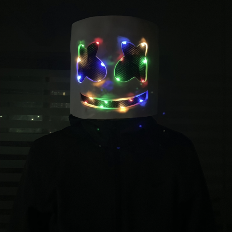 Disco DJ Mask Marshmello Helmets With LED Novelty Lighting Kids Prom Props head LED Marshmallow Mask Party casco marshmello ledDisco DJ Mask Marshmello Helmets With LED Novelty Lighting Kids Prom Props head LED Marshmallow Mask Party casco marshmello led