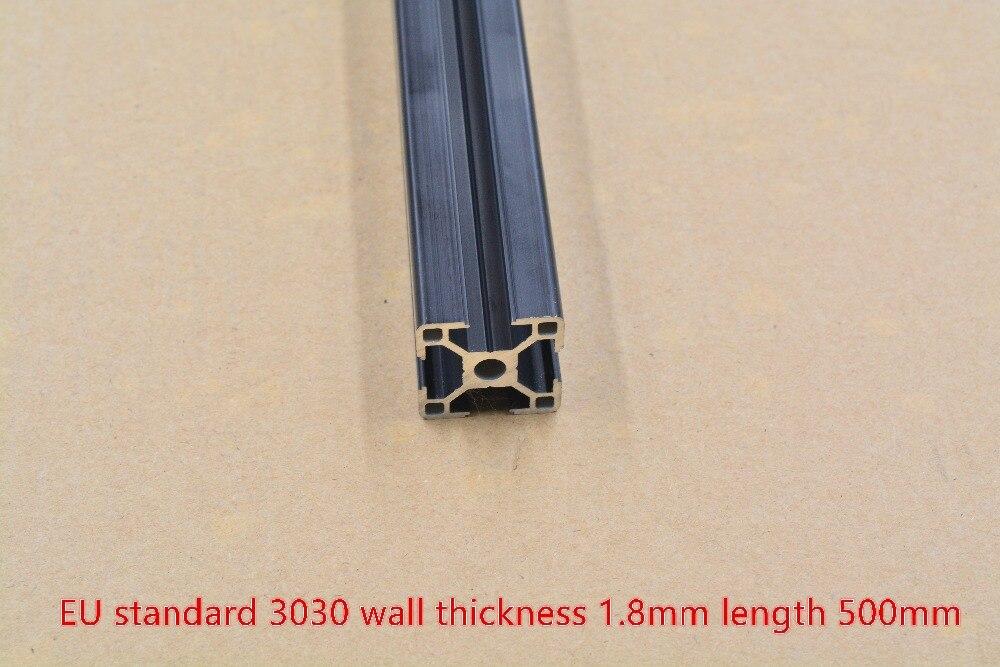 Black 3030 Aluminum Extrusion Profile European Standard Length 500mm Wall Thickness 1.8mm   Workbench 1pcs