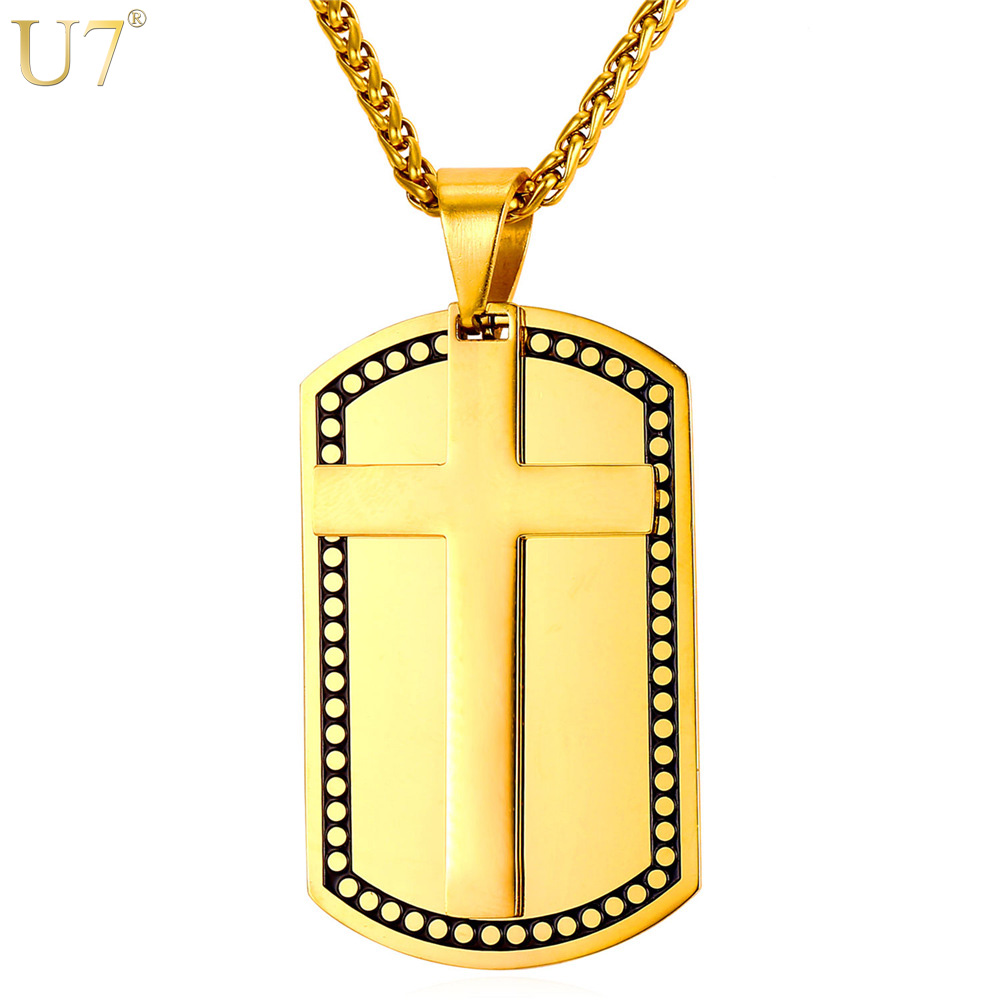 U7 New Gold Color <font><b>Cross</b></font> Fashion Necklace For Women Trendy Stainless Jewelry Wholesale Double Layer Dog Tags For Men Pendant P869