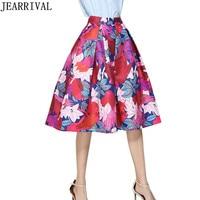 Marque De Mode Midi Jupe 2017 Nouvelle Automne De Mode Femmes de Haute Taille Vintage Imprimer robe de Bal Évasée Skater Jupe Faldas Mujer