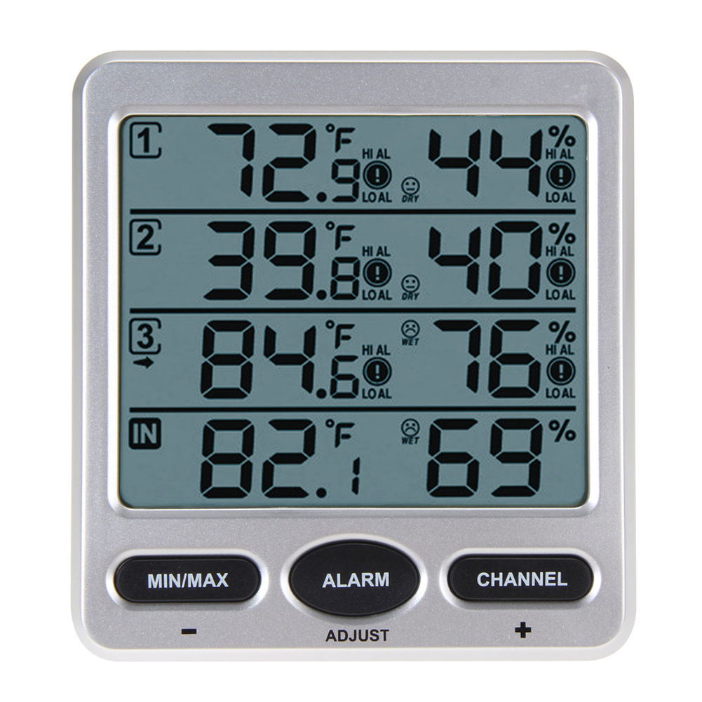 WS-10 Ambient Weather Wireless LCD Digital Thermometer Hygrometer Indoor/Outdoor 8 Channel Thermo Hygrometer