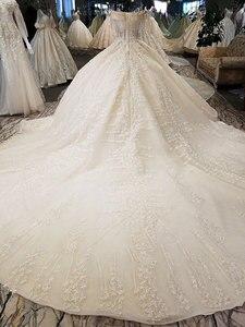 Image 5 - AIJINGYU 웨딩 드레스 2021 가운 스팽글 긴 꼬리 독특한 가운 핀란드 웨딩 드레스 직물과 최신 신부 부티크를 구입