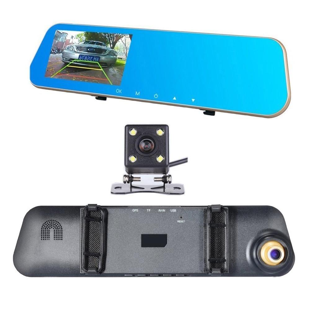 Auto Dual Lens Dash Cam Auto Camcorder FHD registrador 4,3 pulgadas Dash Cam coche Dvr azul revisión espejo grabadora de vídeo Digital - 2