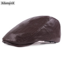 XdanqinX 2019 Autumn Men's PU Leather Cap Simple Berets Elegant Women's Faux Leather Hat Adjustable Size Couple Hat Snapback Cap unique artificial leather adjustable snapback hat